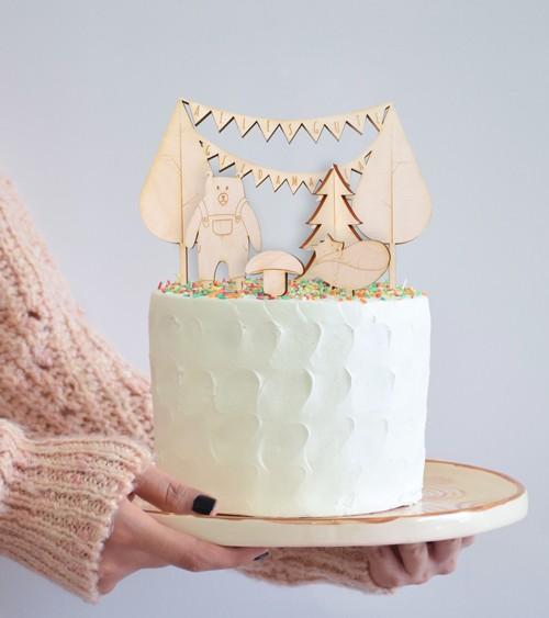 """Dein Cake-Topper-Set """"Waldtiere"""" aus Holz - 5-teilig"""