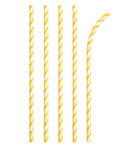Flexible Papierstrohhalme mit Streifen - schoolbus yellow - 24 Stück
