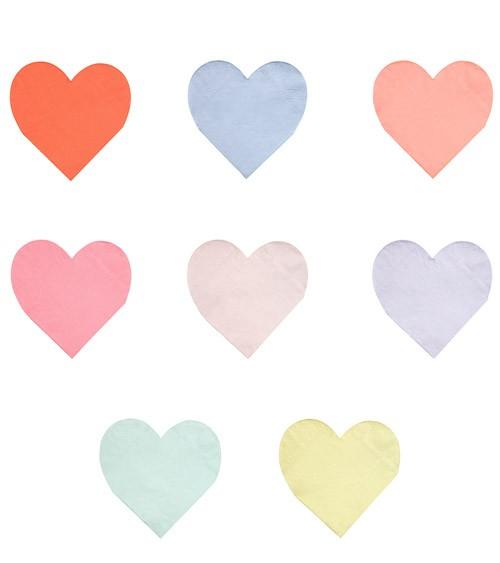 Kleine Herz-Servietten in 8 Farben - 20 Stück