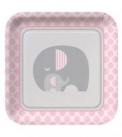 "Pappteller ""Kleiner Elefant - rosa"" - 8 Stück"