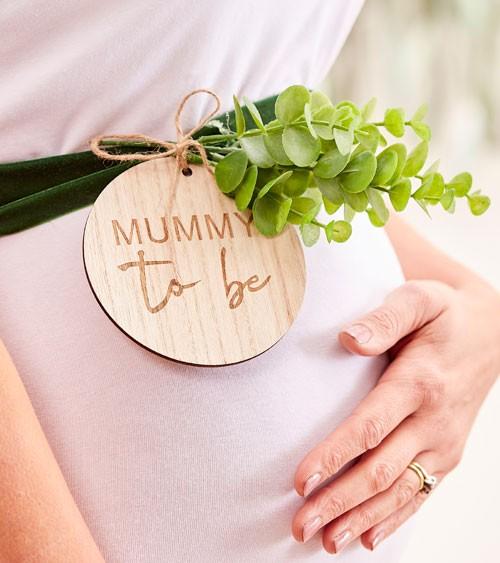 """Babybauchband aus Samt mit Holzanhänger """"Mummy to be"""""""