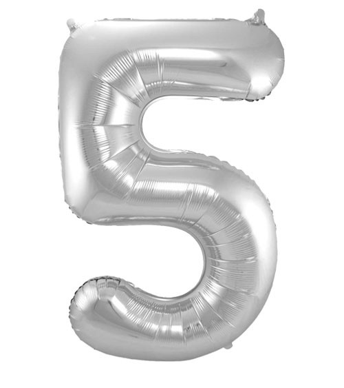 "SuperShape Folienballon ""5"" - silber"