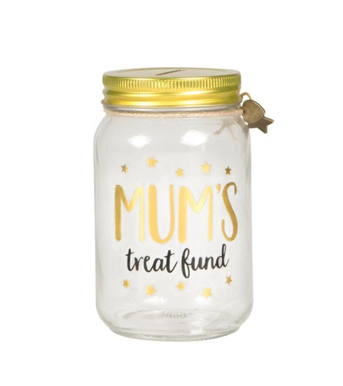 "Spardose aus Glas ""Mum's Treat Fund"""