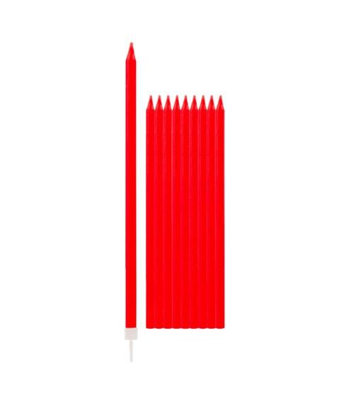 Lange Kuchenkerzen - rot - 15,5 cm - 10 Stück