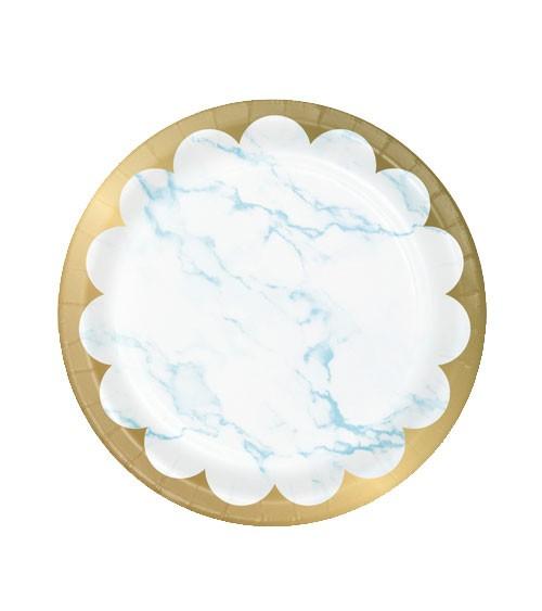 """Kleine Pappteller """"Marble"""" - hellblau & gold - 8 Stück"""