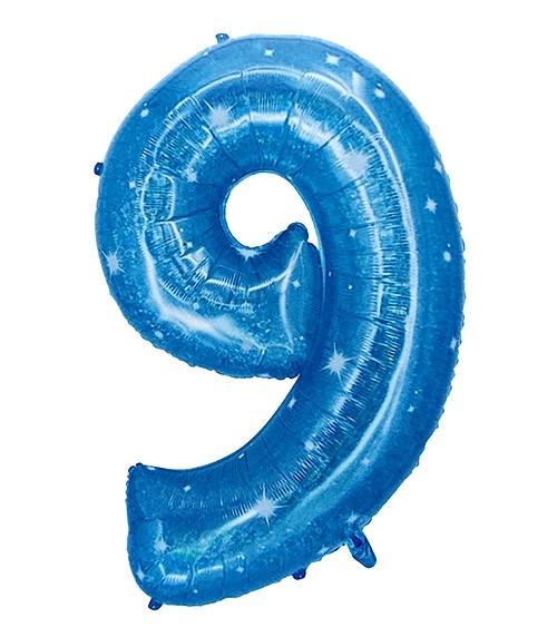 "XXL-Zahl-Folienballon ""9"" - galactic aqua - 101 cm"