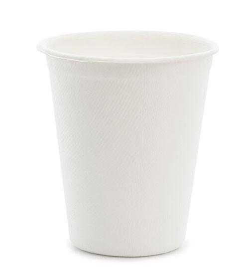 Zuckerrohr-Becher - weiß - 250 ml - 6 Stück