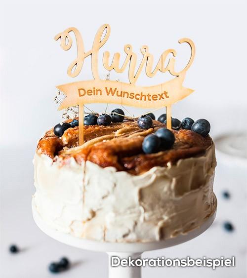"""Dein Cake-Topper """"Hurra"""" aus Holz - Wunschtext"""