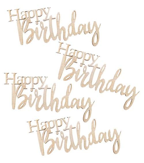 "Holz-Streuteile ""Happy Birthday"" - 8,5 x 4,7 cm - 4 Stück"
