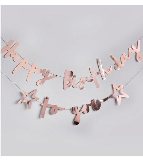 Happy Birthday to you-Girlande - metallic rosegold - 2-teilig