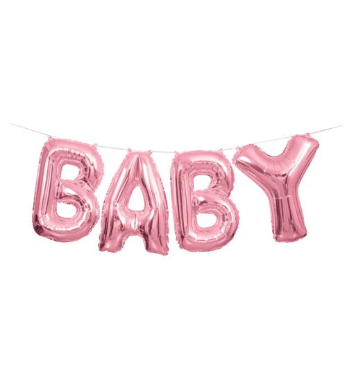 "Folienballon-Set ""BABY"" - rosa - 36 cm"