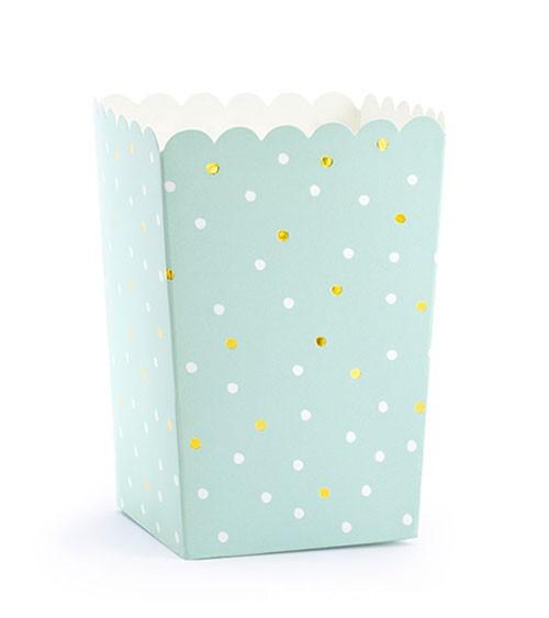 Popcorn-Boxen mit Punkten - mint - 6 Stück