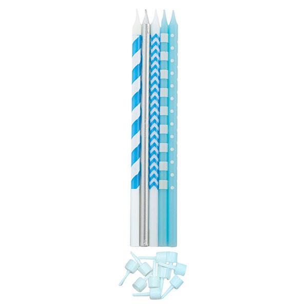 Lange Kuchenkerzen - Farbmix Hellblau - 15,5 cm - 10 Stück