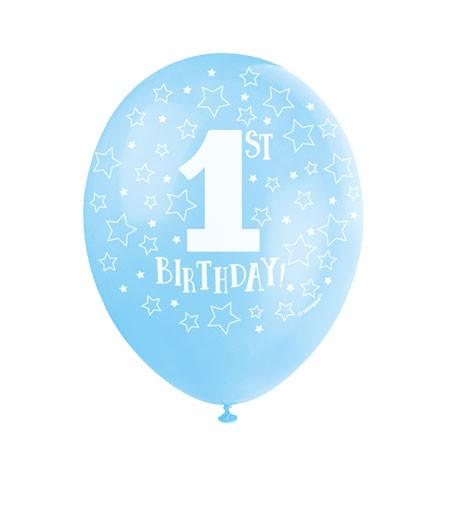 "Perlmutt-Luftballons ""1st Birthday"" - hellblau - 5 Stück"
