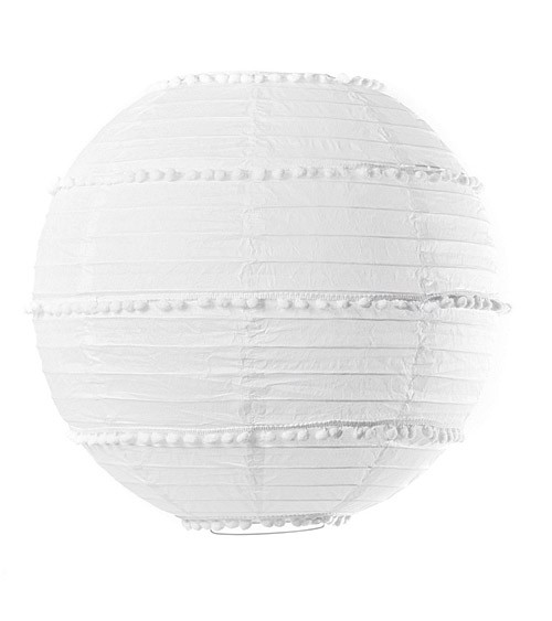 Lampion mit Pompons - 35 cm - weiß