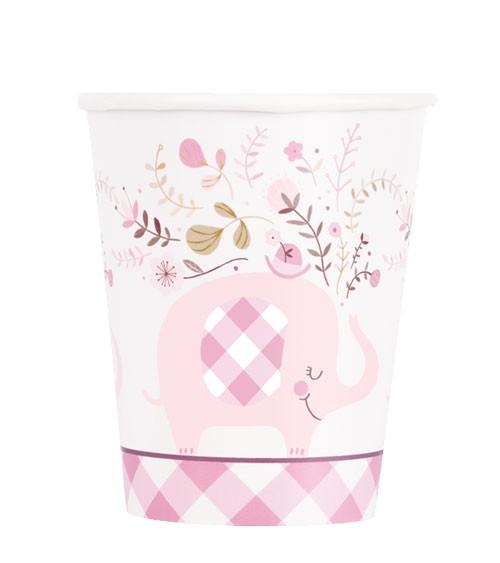 """Pappbecher """"Floral Elephant"""" - rosa - 8 Stück"""
