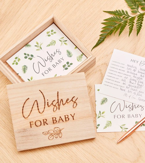 """Babyparty-Holzbox mit Advice Cards """"Wishes for Baby"""" - 51-teilig"""
