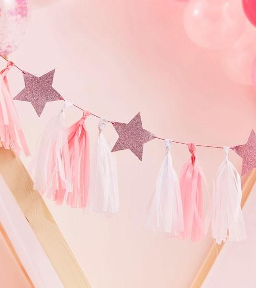DIY Tassel-Girlande mit Glitter-Sternen - rosa, weiß - 2 m