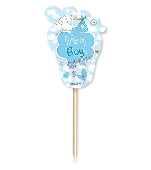 "Party Picks mit Storch ""It's a Boy"" - 24 Stück"