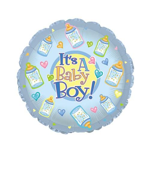"Runder Folienballon ""It's a Baby Boy!"" mit Babyfläschchen"