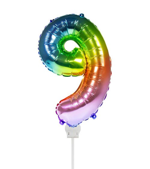 "Folienballon Zahl ""9"" - rainbow - 36 cm"