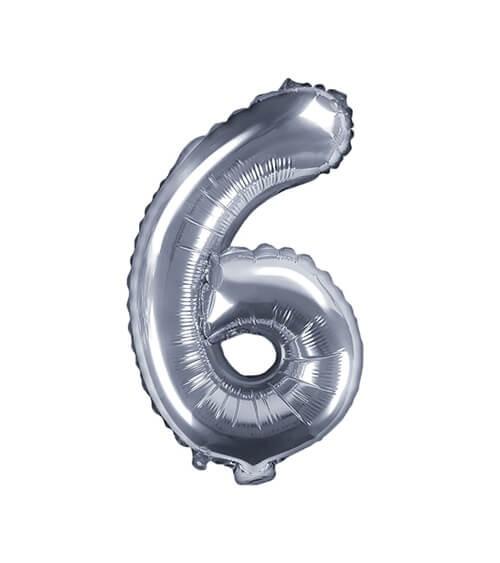 """Folienballon Zahl """"6"""" - silber - 35 cm"""
