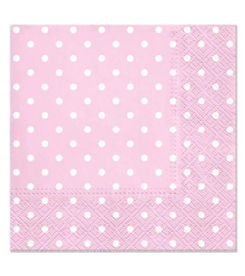 Servietten mit weißen Punkten - rosa - 20 Stück
