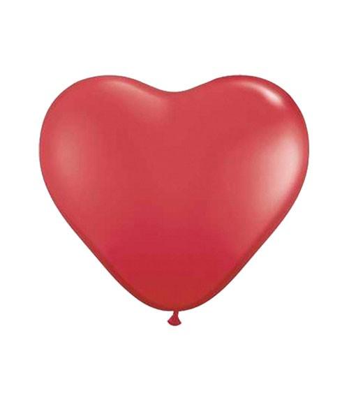 Herz-Luftballons - 25 cm - rot - 100 Stück