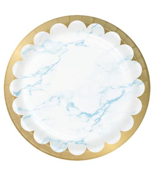 "Pappteller ""Marble"" - hellblau & gold - 8 Stück"