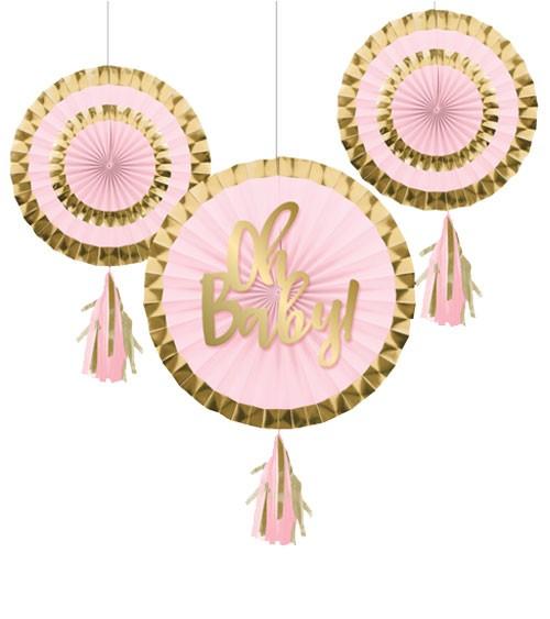 "Papierfächer-Set ""Oh Baby"" - rosa & gold - 3-teilig"