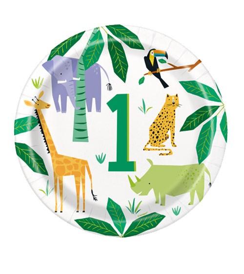 "Pappteller ""Animal Safari"" - 1. Geburtstag - 8 Stück"
