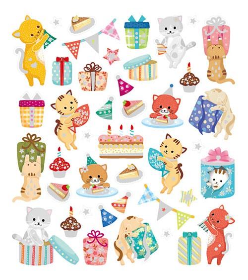 """Sticker """"Geburtstags-Kätzchen"""" - mit Glitter - 1 Bogen"""