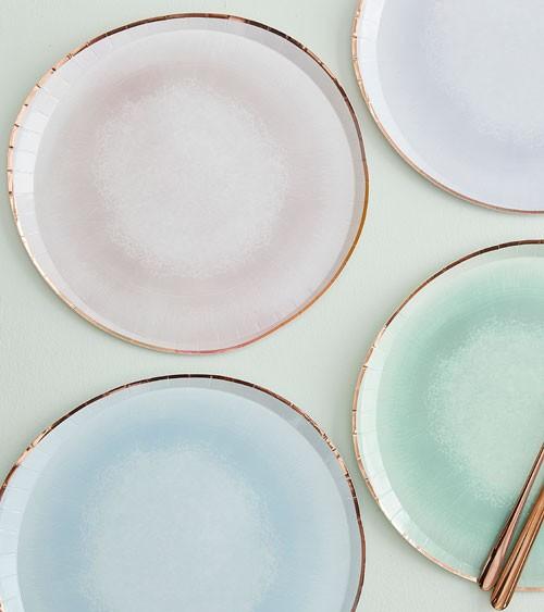 "Unregelmäßig runde Pappteller ""Glaze Effekt"" - 8-teilig"