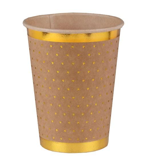 Pappbecher mit goldenen Pünktchen - kraftpapier - 10 Stück