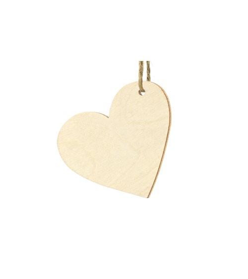 Herzanhänger aus Holz - 6 x 5 cm - 10 Stück