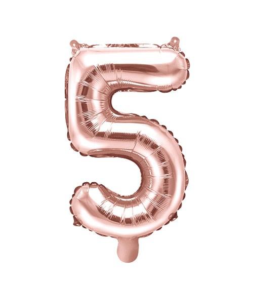 "Folienballon Zahl ""5"" - rosegold - 35 cm"