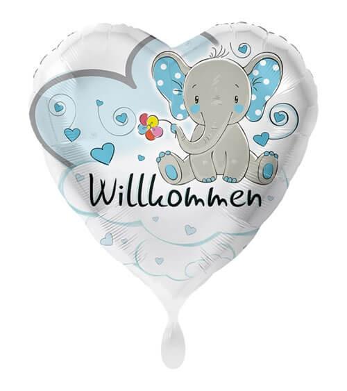 "Herz-Folienballon mit Elefant ""Willkommen"" - blau - 43 cm"