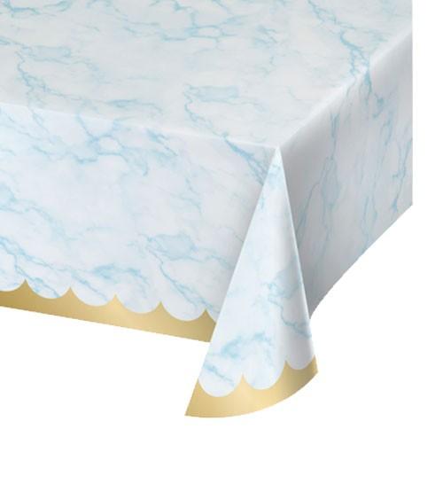 """Papier-Tischdecke """"Marble"""" - hellblau & gold - 137 x 259 cm"""