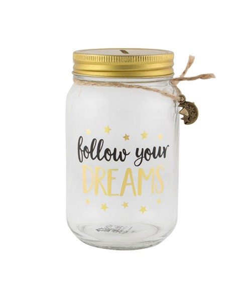 "Spardose aus Glas ""Follow your Dreams"""