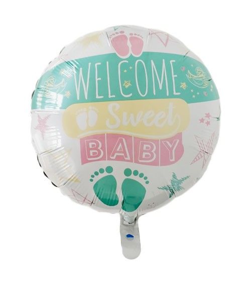 "Folienballon ""Welcome Sweet Baby"" - pastell - 46 cm"