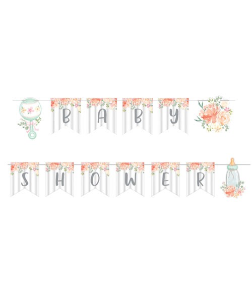 "Baby Shower Girlande ""Floral Baby"" - 2,4 m"