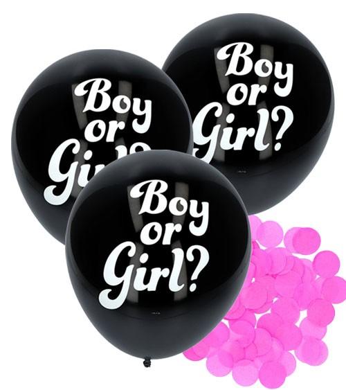 "Schwarze Luftballons mit rosa Konfetti ""Boy or Girl?"" - 3 Stück"