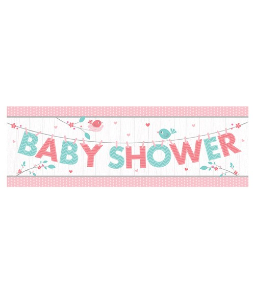 """Baby Shower-Partybanner """"Hello Baby - rosa"""" - 152 cm"""