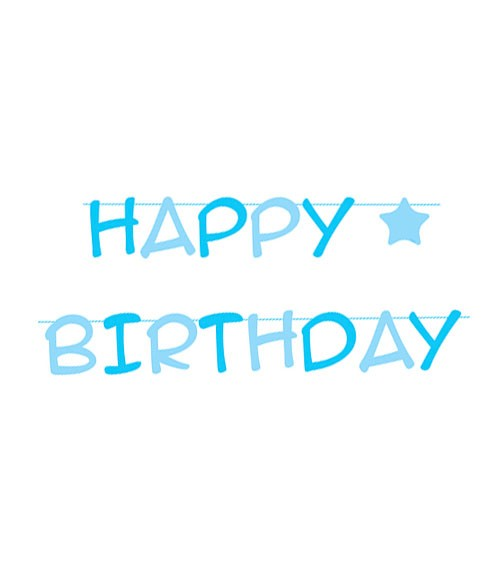 Happy Birthday-Girlande mit Stern - hellblau - 3 m