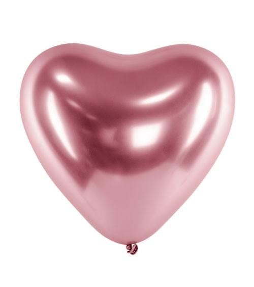 Glossy-Herz-Luftballons - rosegold - 50 Stück