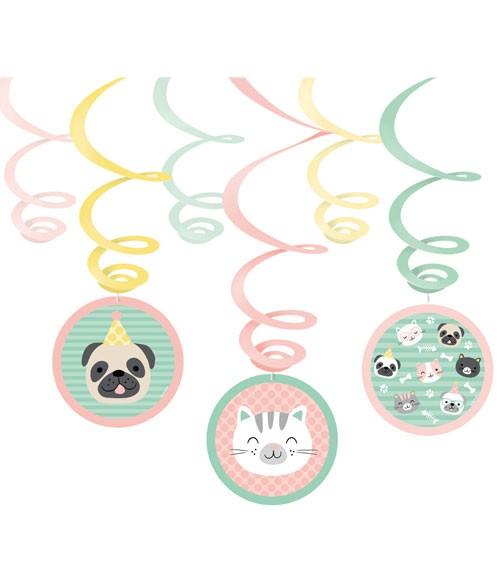 """Spiralgirlanden """"Cats & Dogs"""" - 6 Stück"""