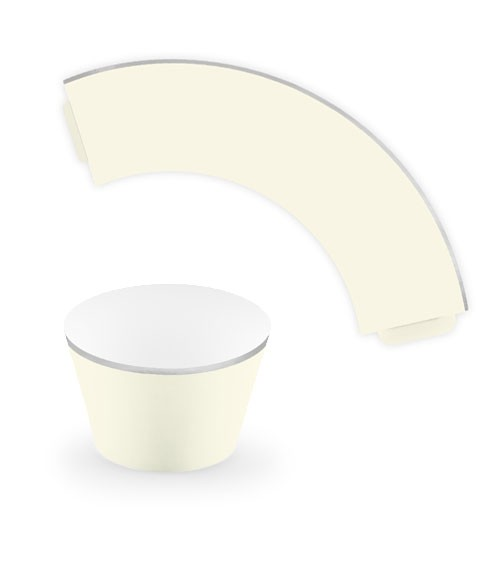 Cupcake-Wrapper mit silbernem Rand - creme - 6 Stück