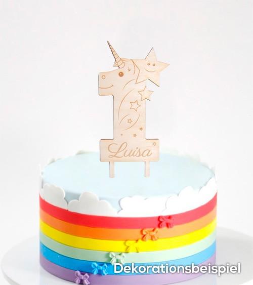 """Dein Cake-Topper """"1. Geburtstag - Einhorn"""" aus Holz - Wunschtext"""