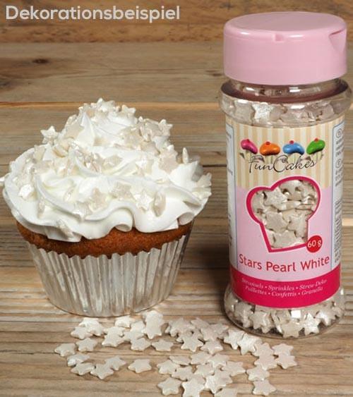 FunCakes Zuckersterne - perlmutt weiß - 60 g