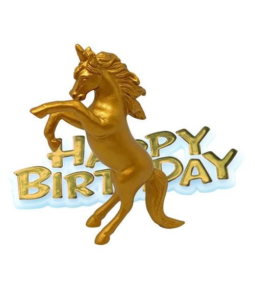 """Tortendekoration """"Einhorn"""" Happy Birthday - 2-teilig"""